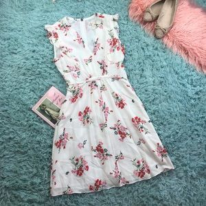 Rebecca Taylor Floral Ruffle Sleeve Dress Size 0